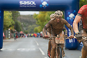 Annika Langvad and Ariane Kleinhans of Team RECM2 win the Sasol ladies hotspot prize during stage 2 of the 2014 Absa Cape Epic Mountain Bike stage race from Arabella Wines in Robertson, South Africa on the 25 March 2014<br /> <br /> Photo by Greg Beadle/Cape Epic/SPORTZPICS