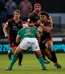 Dragons' Leon Brown lines up Benetton Treviso's Epalahame Faiva<br /> <br /> Photographer Simon King/Replay Images<br /> <br /> Guinness PRO14 Round 1 - Dragons v Benetton Treviso - Saturday 1st September 2018 - Rodney Parade - Newport<br /> <br /> World Copyright © Replay Images . All rights reserved. info@replayimages.co.uk - http://replayimages.co.uk