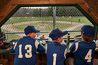 Cantins Major league announcers Neal Miller, Tyler Rizzitano and Jack McLean call the Minor League opening day game for Irwin Zone and Fratellos on Saturday evening at Francouer Field.   (Karen Bobotas/for the Laconia Daily Sun)