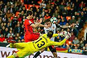 Santi Mina of Valencia scores a goal during the Spanish championship Liga football match between Valencia CF and Real Sociedad on February 25, 2018 at Mestalla Stadium in Valencia, Spain - Photo Oscar J Barroso / Spain ProSportsImages / DPPI / ProSportsImages / DPPI