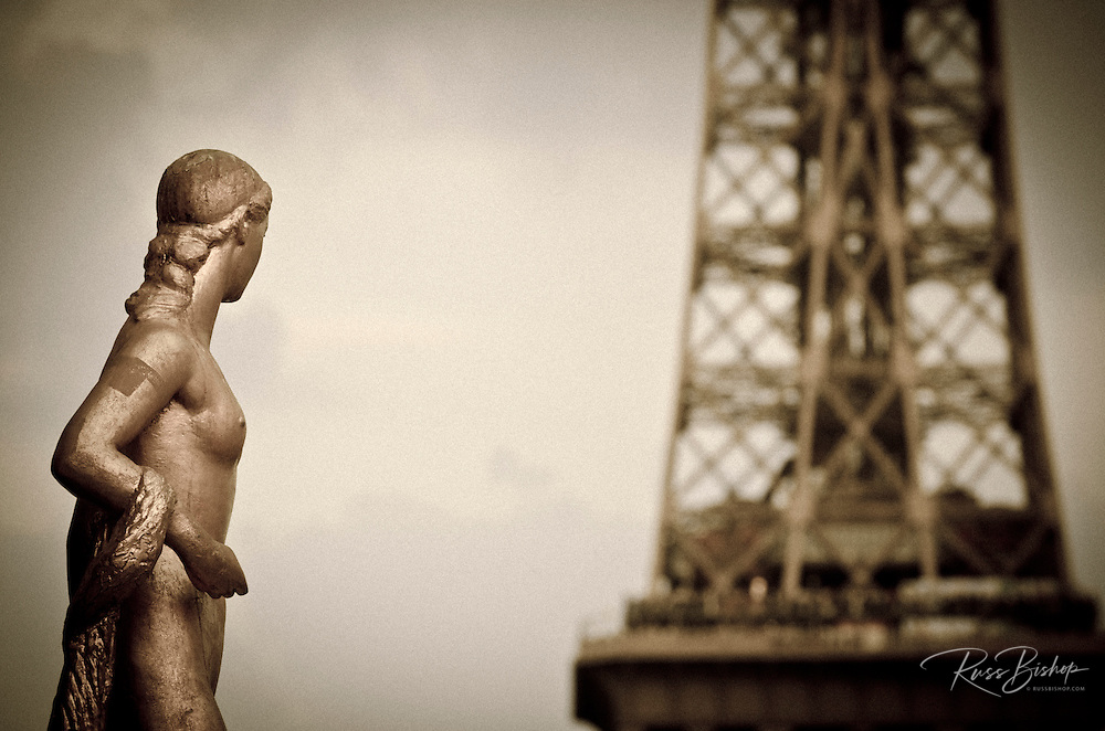 Golden Statue and Eiffel Tower from Trocadero Square, Paris, France