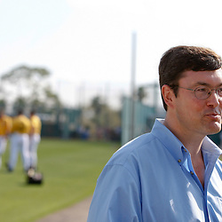 February 21, 2011; Bradenton, FL, USA; Pittsburgh Pirates chairman Robert Nutting speaks to the media during spring training at Pirate City minor league training complex.  Mandatory Credit: Derick E. Hingle