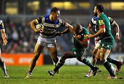 Sam Burgess of Bath Rugby takes on the Leicester Tigers defence - Photo mandatory by-line: Patrick Khachfe/JMP - Mobile: 07966 386802 04/01/2015 - SPORT - RUGBY UNION - Leicester - Welford Road - Leicester Tigers v Bath Rugby - Aviva Premiership