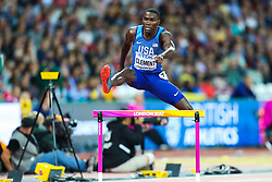 London, 2017 August 07. Kerron Clement, USA, in the Men's 400m hurdles semi-final on day four of the IAAF London 2017 world Championships at the London Stadium. © Paul Davey.