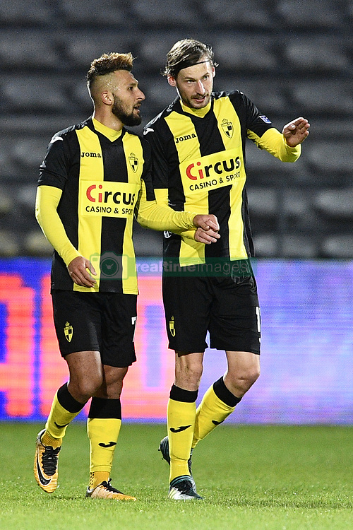 November 5, 2017 - Lier, BELGIUM - Lierse's Yvan Yagan and Lierse's Ludovic Buysens pictured during a soccer game between Lierse SK and OH Leuven, in Lier, Sunday 05 November 2017, on day 14 of the division 1B Proximus League competition of the Belgian championship. BELGA PHOTO YORICK JANSENS (Credit Image: © Yorick Jansens/Belga via ZUMA Press)