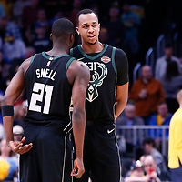 01 April 2018: Milwaukee Bucks guard Tony Snell (21) talks to Milwaukee Bucks center John Henson (31) during the Denver Nuggets 128-125 victory over the Milwaukee Bucks, at the Pepsi Center, Denver, Colorado, USA.