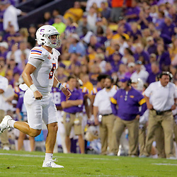 Sep 14, 2019; Baton Rouge, LA, USA; Northwestern State Demons quarterback Shelton Eppler (5) reacts after a touchdown pass against the LSU Tigers during the first quarter at Tiger Stadium. Mandatory Credit: Derick E. Hingle-USA TODAY Sports