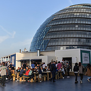 Hundreds packed at The Scoop dancing and singalong at the Summer by the River: Massaoke   London Bridge City, on 28 June 2019, London, UK.