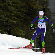 Winter Olympics, Vancouver, 2010.Dijana Ravnikar, Slovenia, in action during the Women's 7.5 KM Sprint Biathlon at The Whistler Olympic Park, Whistler, during the Vancouver  Winter Olympics. 13th February 2010. Photo Tim Clayton
