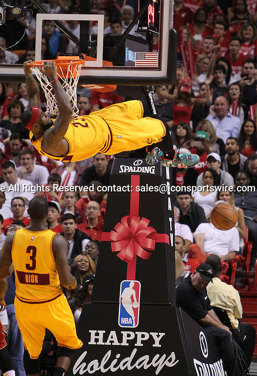 Dec. 25, 2014 - Miami, FL, USA - Cleveland Cavaliers forward LeBron James dunks during the fourth quarter of an NBA basketball game against the Miami Heat on Dec. 25, 2014 at the AmericanAirlines Arena in Miami. The Heat won 101-91