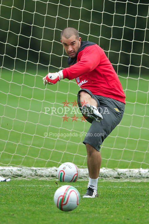 CARDIFF, WALES - Wednesday, October 5, 2011: Wales' goalkeeper Boaz Myhill during a training session at the Vale of Glamorgan Hotel ahead of the UEFA Euro 2012 Qualifying Group G match against Switzerland. (Pic by David Rawcliffe/Propaganda)
