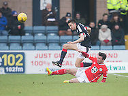 St Mirren&rsquo;s Stevie Mallan tackles Dundee&rsquo;s Cammy Kerr - Dundee v St Mirren in the William Hill Scottish Cup at Dens Park, Dundee. Photo: David Young<br /> <br />  - &copy; David Young - www.davidyoungphoto.co.uk - email: davidyoungphoto@gmail.com