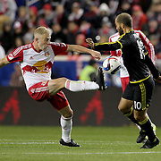 Mike Grella,  New York Red Bulls, in action during the New York Red Bulls Vs Columbus Crew SC, Major League Soccer Eastern Conference Championship, second leg, at Red Bull Arena, Harrison, New Jersey. USA. 29th November 2015. Photo Tim Clayton