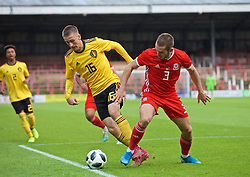 WREXHAM, WALES - Friday, September 6, 2019: Wales' Rhys Norrington-Davies (R) and Belgium's Alexis Saelemaekers during the UEFA Under-21 Championship Italy 2019 Qualifying Group 9 match between Wales and Belgium at the Racecourse Ground. (Pic by Laura Malkin/Propaganda)