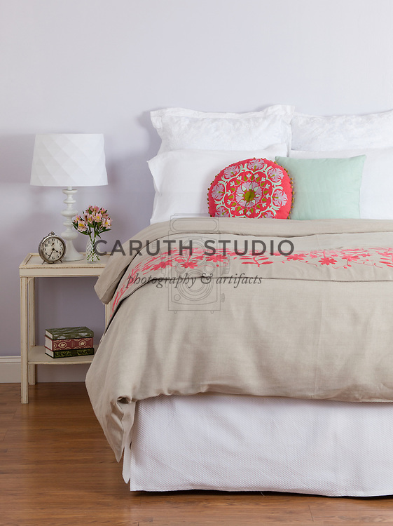 Bed covered with luxury linens