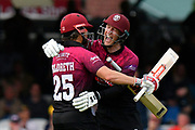 Somerset Win - James Hildreth of Somerset and George Bartlett of Somerset celebrate winning runs to win the Royal London 1 Day Cup Final match between Somerset County Cricket Club and Hampshire County Cricket Club at Lord's Cricket Ground, St John's Wood, United Kingdom on 25 May 2019.