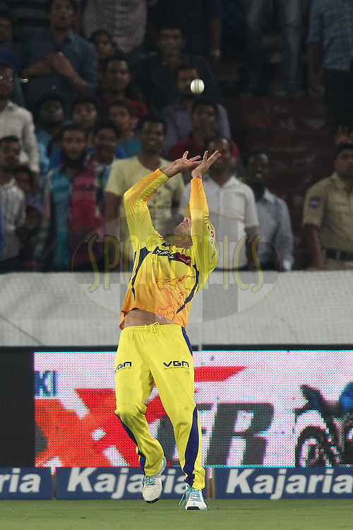 Francois Du Plessis of the Chennai Super Kings gets under the ball to take the catch to get Manan Vohra of the Kings XI Punjab wicket during the second semi final match of the Oppo Champions League Twenty20 between the Kings XI Punjab and the Chennai Superkings held at the Rajiv Gandhi Cricket Stadium, Hyderabad, India on the 2nd October 2014<br /> <br /> Photo by:  Shaun Roy / Sportzpics/ CLT20<br /> <br /> <br /> Image use is subject to the terms and conditions as laid out by the BCCI/ CLT20.  The terms and conditions can be downloaded here:<br /> <br /> http://sportzpics.photoshelter.com/gallery/CLT20-Image-Terms-and-Conditions-2014/G0000IfNJn535VPU/C0000QhhKadWcjYs
