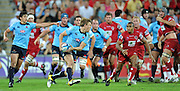 """Lachie Turner runs in open space for the Waratahs during action from the Super 15 Rugby Union match played between the Queensland Reds and the NSW Waratahs at Suncorp Stadium (Brisbane, Australia) on Saturday 23rd April 2011<br /> <br /> Conditions of Use : NO AGENTS ~ This image is intended for Editorial use only (news or commentary, print or electronic) - Required Images Credit """"Steven Hight - Aura Images"""""""