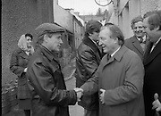 Image of Fianna Fáil leader Charles Haughey touring West Cork during his 1982 election campaign...04/02/1982.02/04/82.4th February 1982..Straight off the press:..Charles Haughey pressing the flesh as he seeks voter approval in the imminent general election..