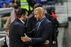 November 26, 2018 - San Sebastian, Spain - Asier Garitano, head coach of Real Sociedad, and Miguel Cardoso during the Spanish league football match between Real Sociedad and Celta at the Anoeta Stadium on 26 November 2018 in San Sebastian, Spain  (Credit Image: © Jose Ignacio Unanue/NurPhoto via ZUMA Press)