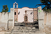 Exterior view of the Templo de nuestro Señor de Padua church or Our Lord of Padua chapel in Mineral de Pozos, Guanajuato, Mexico.