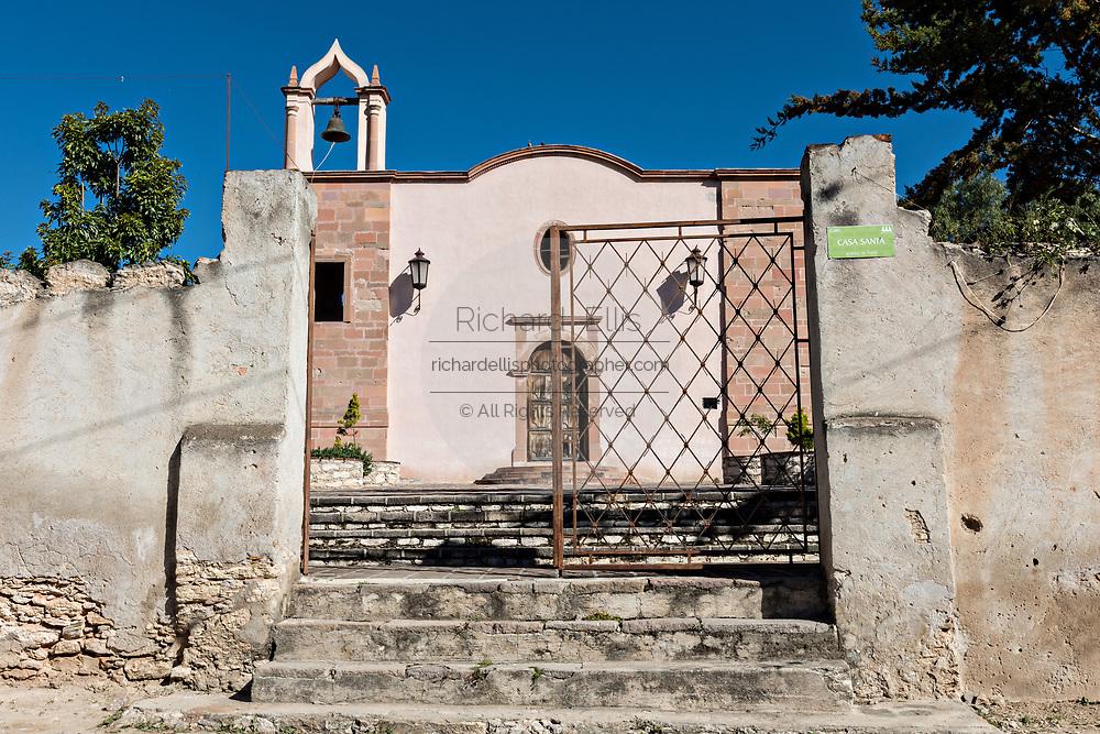 Exterior view of the Templo de nuestro Señor de Padua church or Our Lord of Padua chapel in Mineral de Pozos, Guanajuato, Mexico.