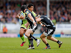 Northampton Winger Ken Pisi is tackled by Exeter Chiefs Winger Matt Jess and Inside Centre Sam Hill - Photo mandatory by-line: Rogan Thomson/JMP - 07966 386802 - 11/04/2015 - SPORT - RUGBY UNION - Exeter, England - Sandy Park Stadium - Exeter Chiefs v Northampton Saints - Aviva Premiership.