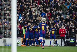 March 4, 2018 - Barcelona, Catalonia, Spain - 10 Leo Messi from Argentina of FC Barcelona celebrating his goal with his team during La Liga match between FC Barcelona v Atletico de Madrid at Camp Nou Stadium in Barcelona on 04 of March, 2018. (Credit Image: © Xavier Bonilla/NurPhoto via ZUMA Press)