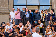 Rome, Italy. 1th September 2015<br /> Assembly of educators and teachers of kindergarten on the staircase of Vignola in the Capitol to protest the dismissals decided by Roma Capitale, of 5000 workers with precarious contracts. The Deputy Mayor of Rome, Marco Causi (with microphone) and the commissioner for school, Marco Rossi Doria,(behind), speakers at the assembly.