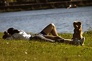 People relaxing in Roath Park, Cardiff, September 2002. Photo © Rob Watkins