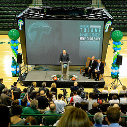 Mar 29, 2016; New Orleans, LA, USA; Tulane Green Wave head coach Mike Dunleavy Sr. during his introductory press conference at the Delvin Fieldhouse. Mandatory Credit: Derick E. Hingle-USA TODAY Sports