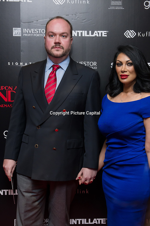 Jonathan Sothcott,Janine Nerissa Arrivers at Once Upon a Time in London - London premiere of the rise and fall of a nationwide criminal empire that paved the way for notorious London gangsters the Kray Twins and the Richardsons at The Troxy 490 Commercial Road, on 15 April 2019, London, UK.