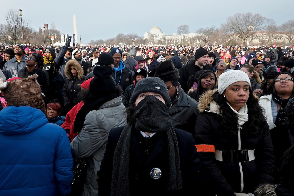 Supporters watch the Second Inauguration of President Barack Obama from the National Mall on Jan. 21, 2013.