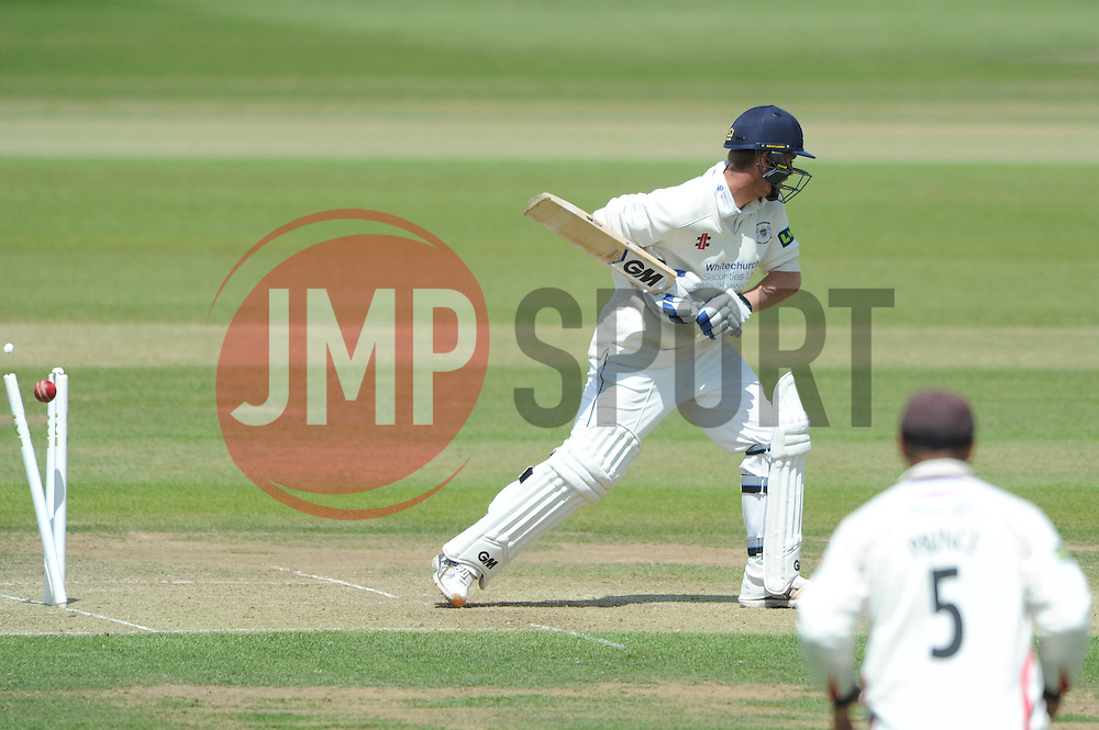 Ian Cockbain of Gloucestershire is bowled by Glen Chapple for 28 - Photo mandatory by-line: Dougie Allward/JMP - Mobile: 07966 386802 - 08/06/2015 - SPORT - Football - Bristol - County Ground - Gloucestershire Cricket v Lancashire Cricket Day 2 - LV= County Championship