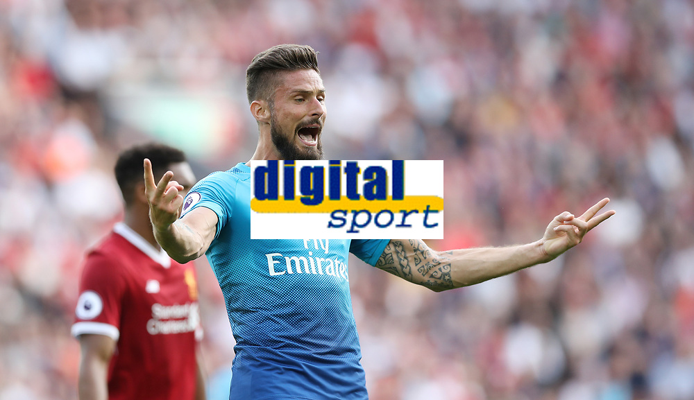 Football - 2017 / 2018 Premier League - Liverpool vs. Arsenal<br /> <br /> Olivier Giroud of Arsenal reacts at Anfield.<br /> <br /> COLORSPORT/LYNNE CAMERON