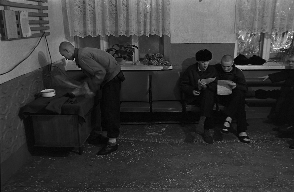 The prisoners read their letters in the rest room of the colony for prisoner's children in Siberian town Leninsk-Kuznetsky, Russia, 25 January 1999.