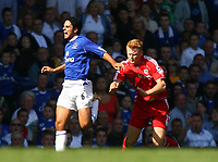 Fotball<br /> England<br /> Foto: Propaganda/Digitalsport<br /> NORWAY ONLY<br /> <br /> 09.08.2006<br /> Everton v Liverpool<br /> Liverpool's John Arne Riise clashes with Everton's Mikel Arteta and is left injured during the 204th Merseyside Derby match at Goodison Park
