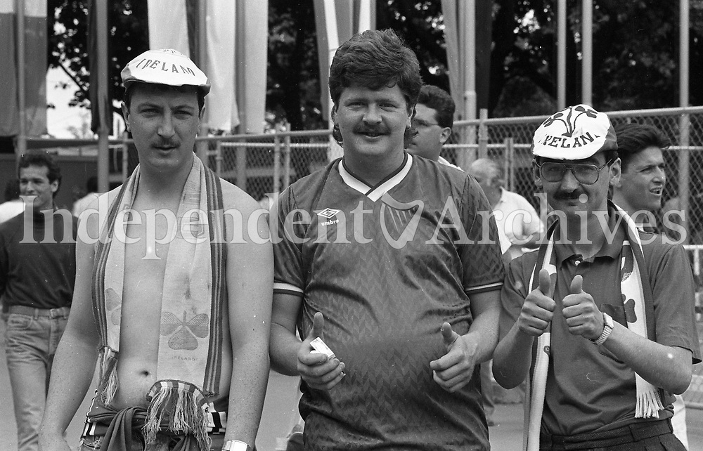 Irish fans at the Republic of Ireland v England game in the  European Championship Finals. Picture Jim O'Kelly 12 June 1988  (Part of the Independent Newspapers Ireland/NLI Collection).