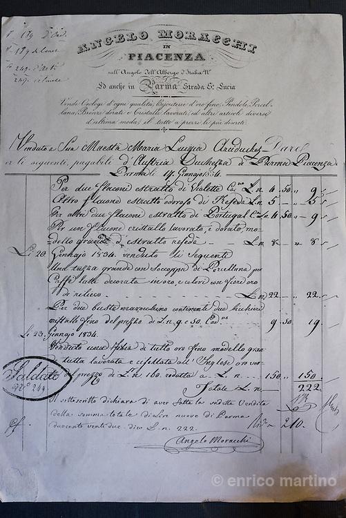 Parma Ricevuta per alcuni acquisti legati alla Violetta di Parma da parte di Maria Luisa, duchessa di Parma, Piacenza e Guastalla, e grande amante delle violette di Parma.