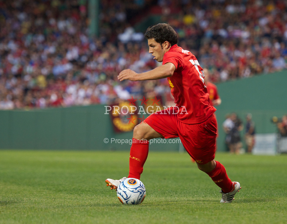 BOSTON, MA - Wednesday, July 25, 2012: Liverpool's Daniel Pacheco in action against AS Roma during a pre-season friendly match at Fenway Park, home of the Boston Red Sox, the second match of the Reds' North American tour. (Pic by David Rawcliffe/Propaganda)
