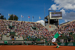 June 5, 2017 - Paris, France - Fernando Verdasco of Spain serves against Kei Nishikori of Japan during the fourth round at Roland Garros Grand Slam Tournament - Day 9 on June 5, 2017 in Paris, France. (Credit Image: © Robert Szaniszlo/NurPhoto via ZUMA Press)