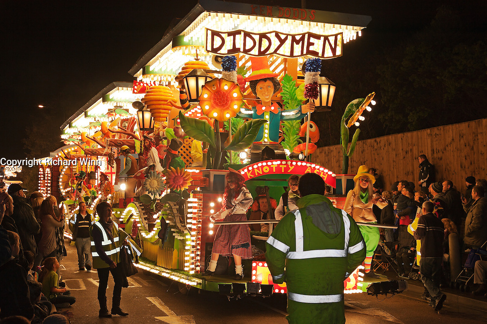 Diddymen (A Trip Through Notty Ash), the winning entry in the junior feature cart class, by Toppers Carnival Club at the 2011 Bridgwater Guy Fawkes Carnival. Bridgwater Carnival is an annual event to raise money for local charities. It is widely reputed to be the largest illuminated carnival in the world.