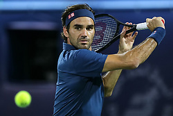BEIJING, March 1, 2019  Roger Federer of Switzerland returns a shot during the singles quarterfinal match between Roger Federer of Switzerland and Marton Fucsovics of Hungary at the ATP Dubai Duty Free Tennis Championships 2019 in Dubai, the United Arab Emirates, Feb. 28, 2019. Roger Federer won 2-0 to proceed to the semifinals. (Credit Image: © Mahmoud Khaled/Xinhua via ZUMA Wire)