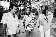 Jamaican Film Director Dickie Jobson with Jimmy Cliff and Actor Carl Bradshaw