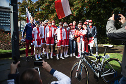 The Polish team with their fans before the UCI Road World Championships 2019 Women's Elite Road Race a 149.4 km road race from Bradford to Harrogate, United Kingdom on September 28, 2019. Photo by Balint Hamvas/velofocus.com