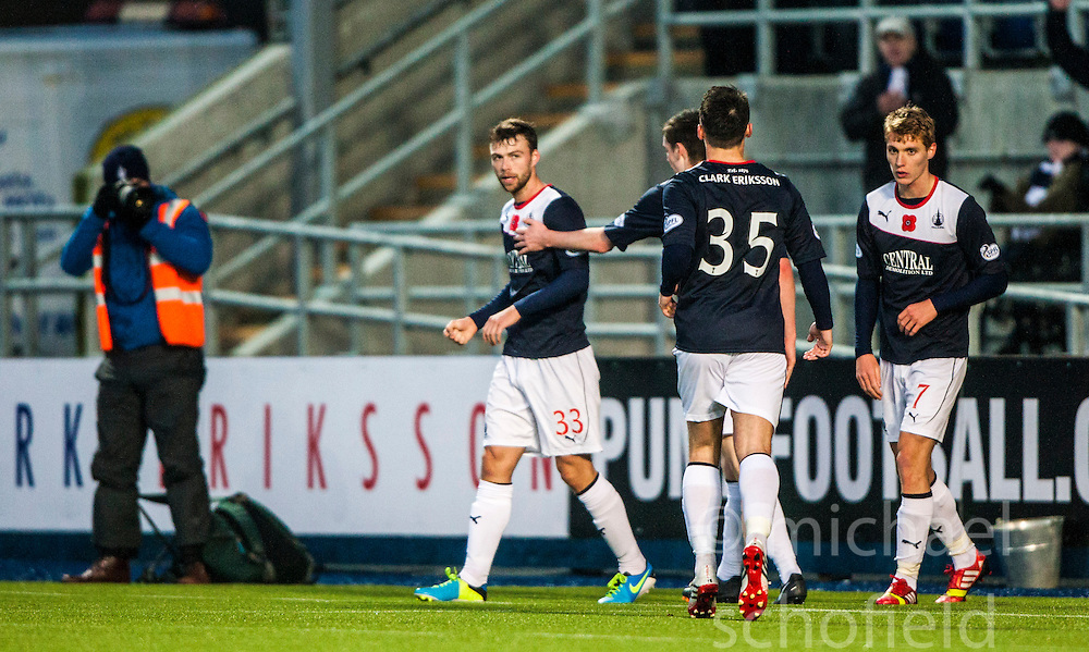 Falkirk's Rory Loy celebrates after scoring their second goal.<br /> half time : Falkirk 1 v 0 Livingston, Scottish Championship game played today at the Falkirk Stadium.<br /> &copy;Michael Schofield.