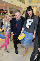 Left to right, PIPS TAYLOR, RANKIN and LILAH PARSONS at a party to celebrate the launch of French Connection's #CANTHELPMYSELFIE -The UK's first in-store interactive selfie booths and windows held at French Connection, 249-251 Regent Street, London on 15th April 2014.