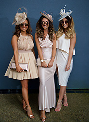 LIVERPOOL, ENGLAND - Thursday, April 6, 2017: Shauna Kotyniewiecz, Danielle West and Ellie Whittle, all 21 and from Wigan, during The Opening Day on Day One of the Aintree Grand National Festival 2017 at Aintree Racecourse. (Pic by David Rawcliffe/Propaganda)