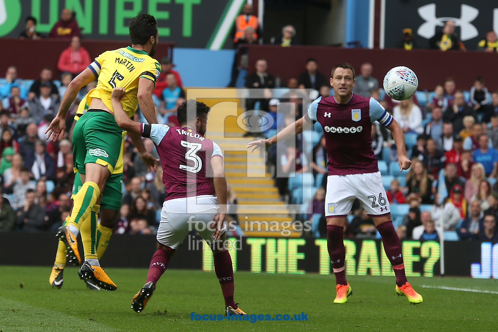 Russell Martin of Norwich heads for goal during the Sky Bet Championship match at Villa Park, Birmingham<br /> Picture by Paul Chesterton/Focus Images Ltd +44 7904 640267<br /> 19/08/2017