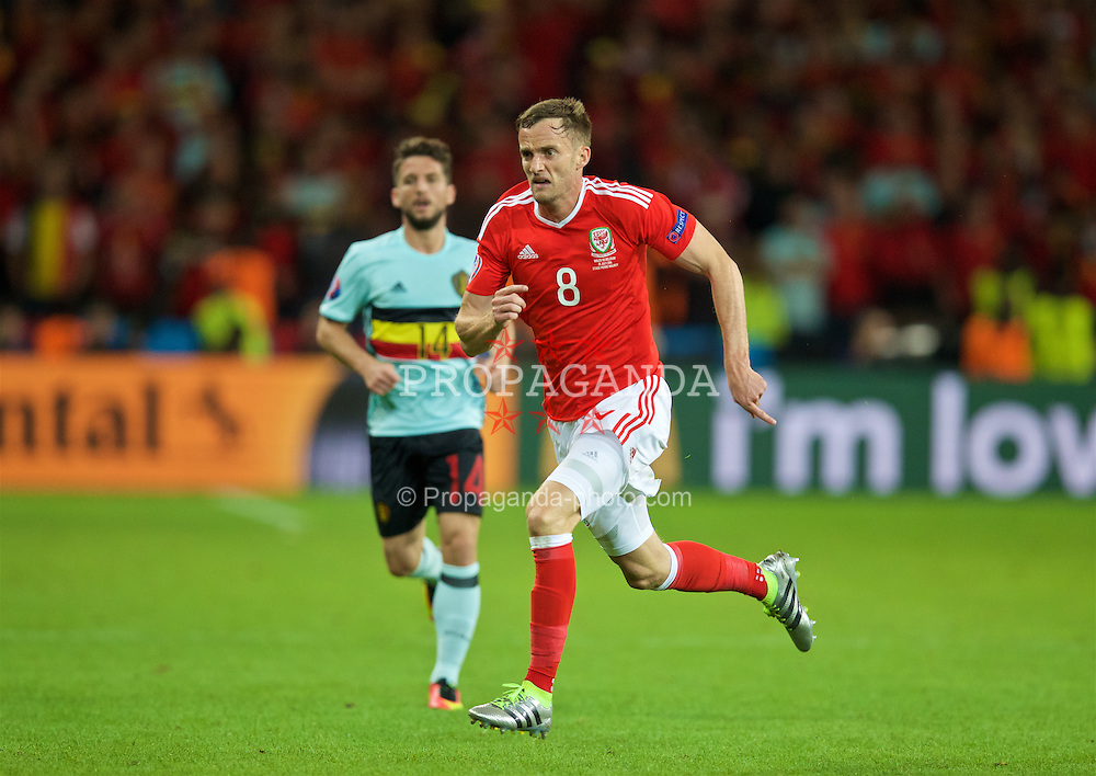 LILLE, FRANCE - Friday, July 1, 2016: Wales' Andy King in action against Belgium during the UEFA Euro 2016 Championship Quarter-Final match at the Stade Pierre Mauroy. (Pic by David Rawcliffe/Propaganda)